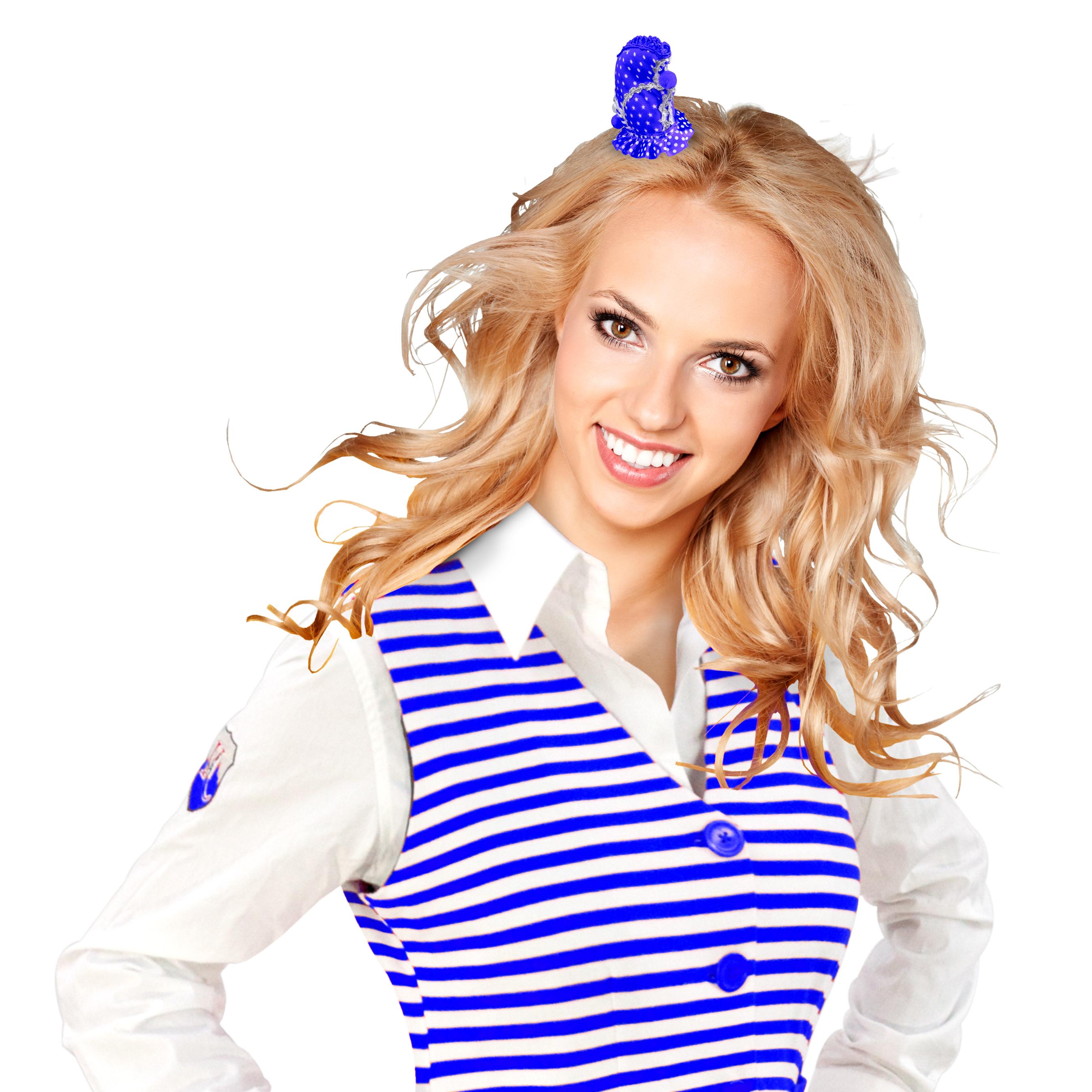Haarclip Schiffchen Dom blau-weiß