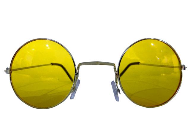 Runde Hippie Brille gelb