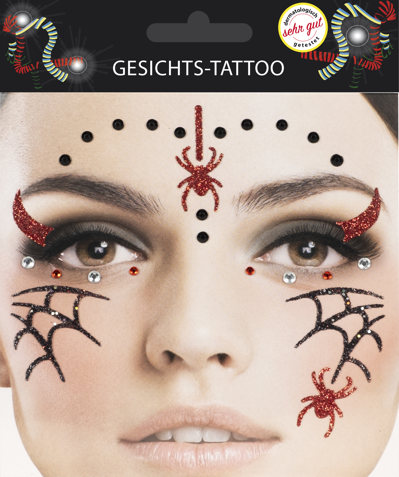 Gesichts-Tattoo Halloween Spinne