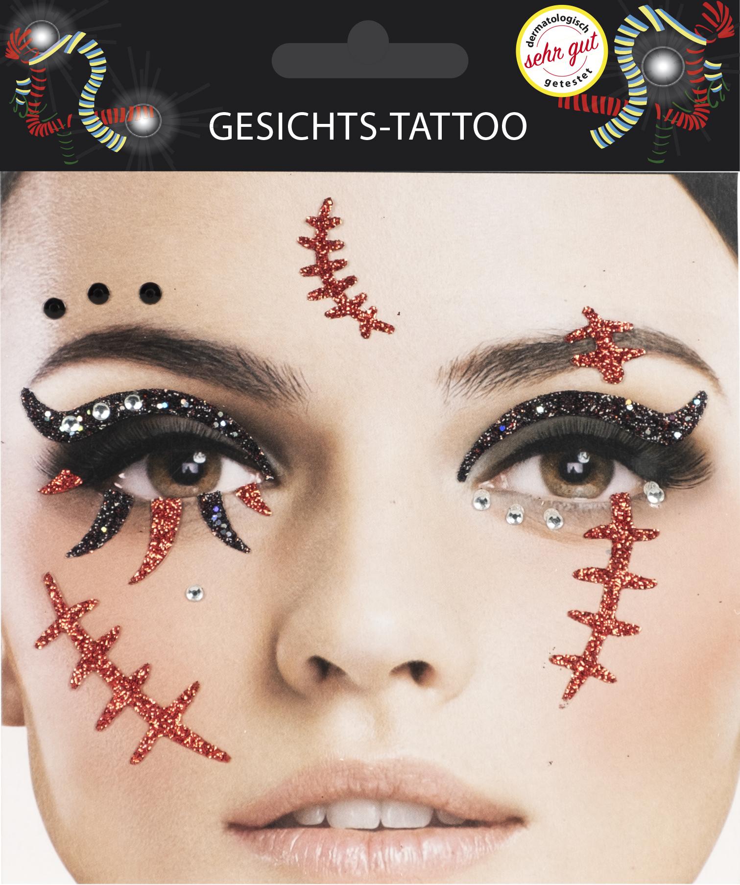Gesichts-Tattoo Halloween Narben