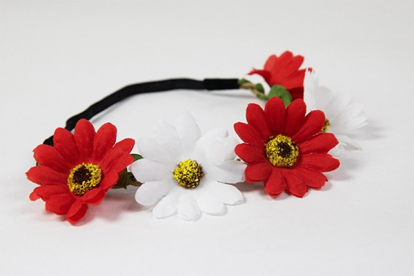 Haarband rot-weiß Blumen