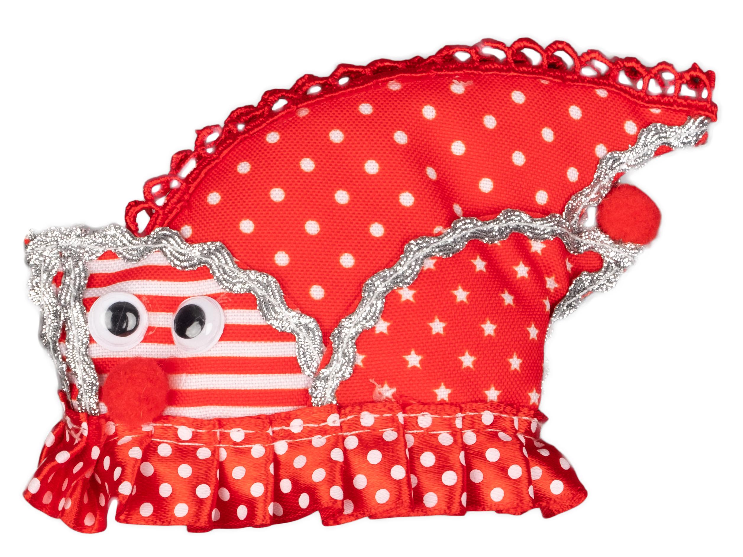 Haarclip Schiffchen Dom rot/weiß