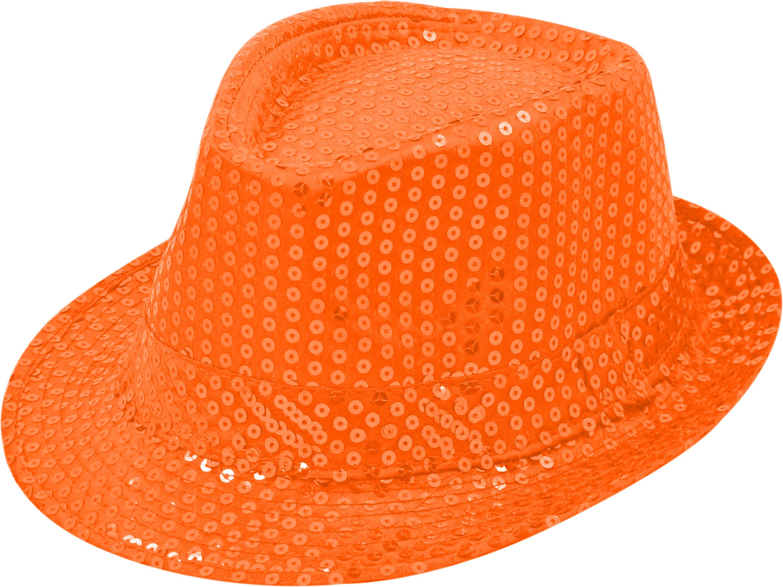 Pailletten-Hut orange