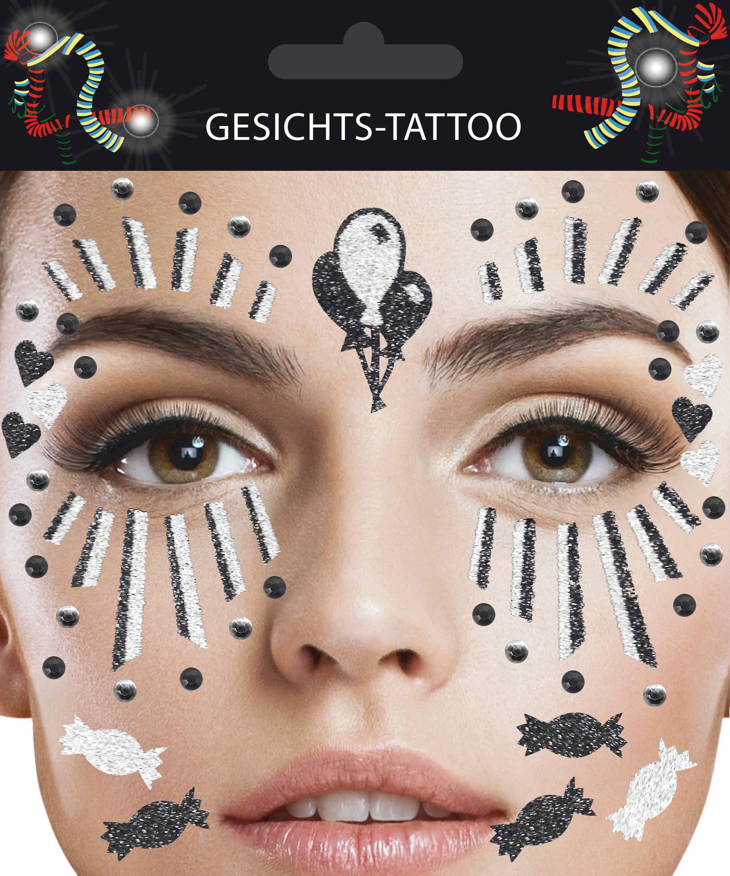 Gesichts-Tattoo Clown schwarz weiß