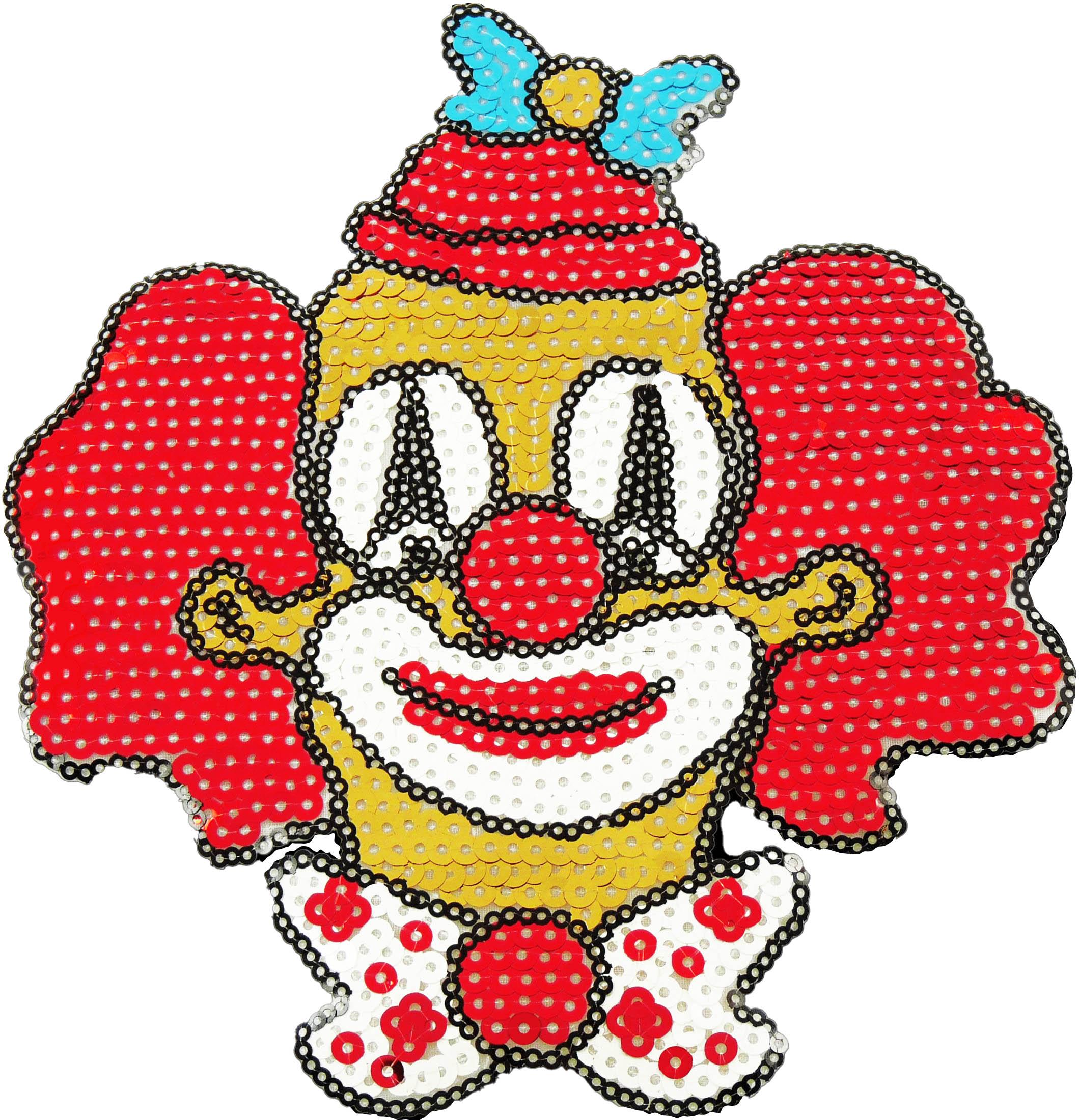 Paillettenbügelbild Clown
