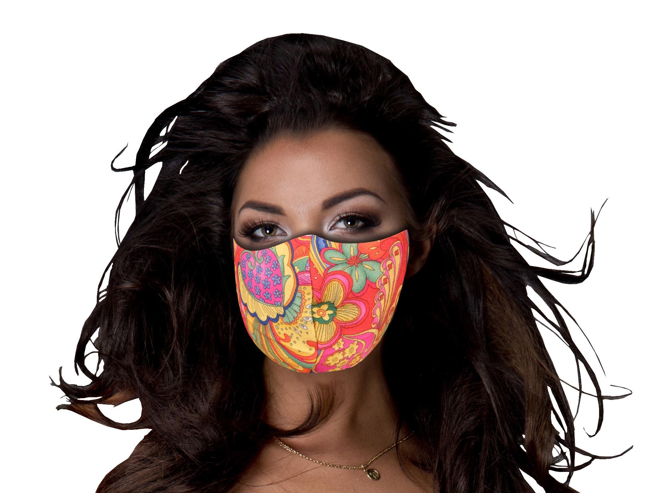 Stoffmaske mit Flower Power-Muster