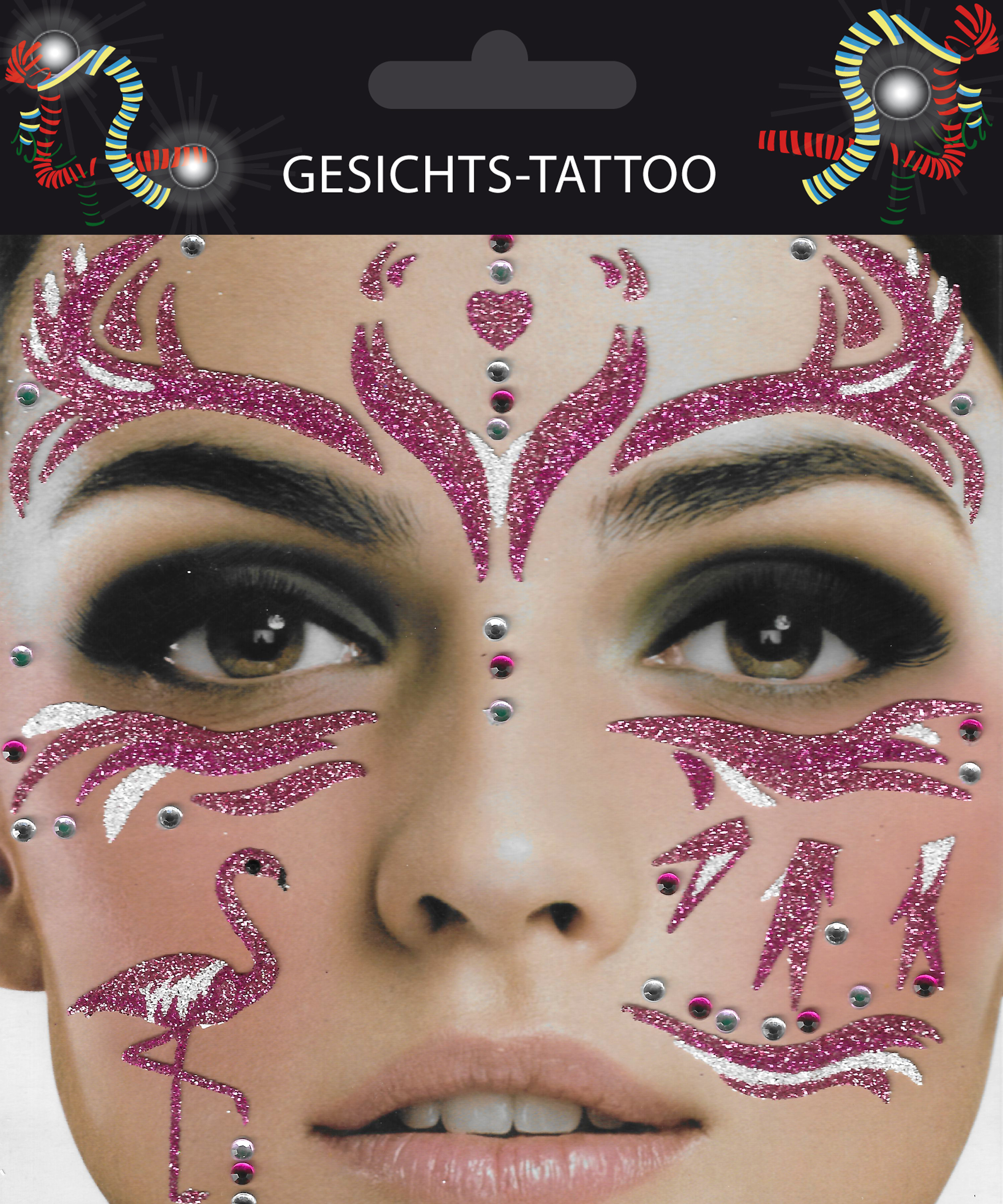 Gesichts-Tattoo Flamingo