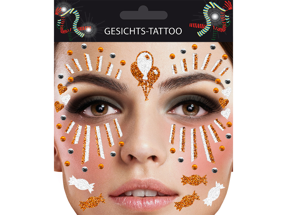 Gesichts-Tattoo Clown orange weiß