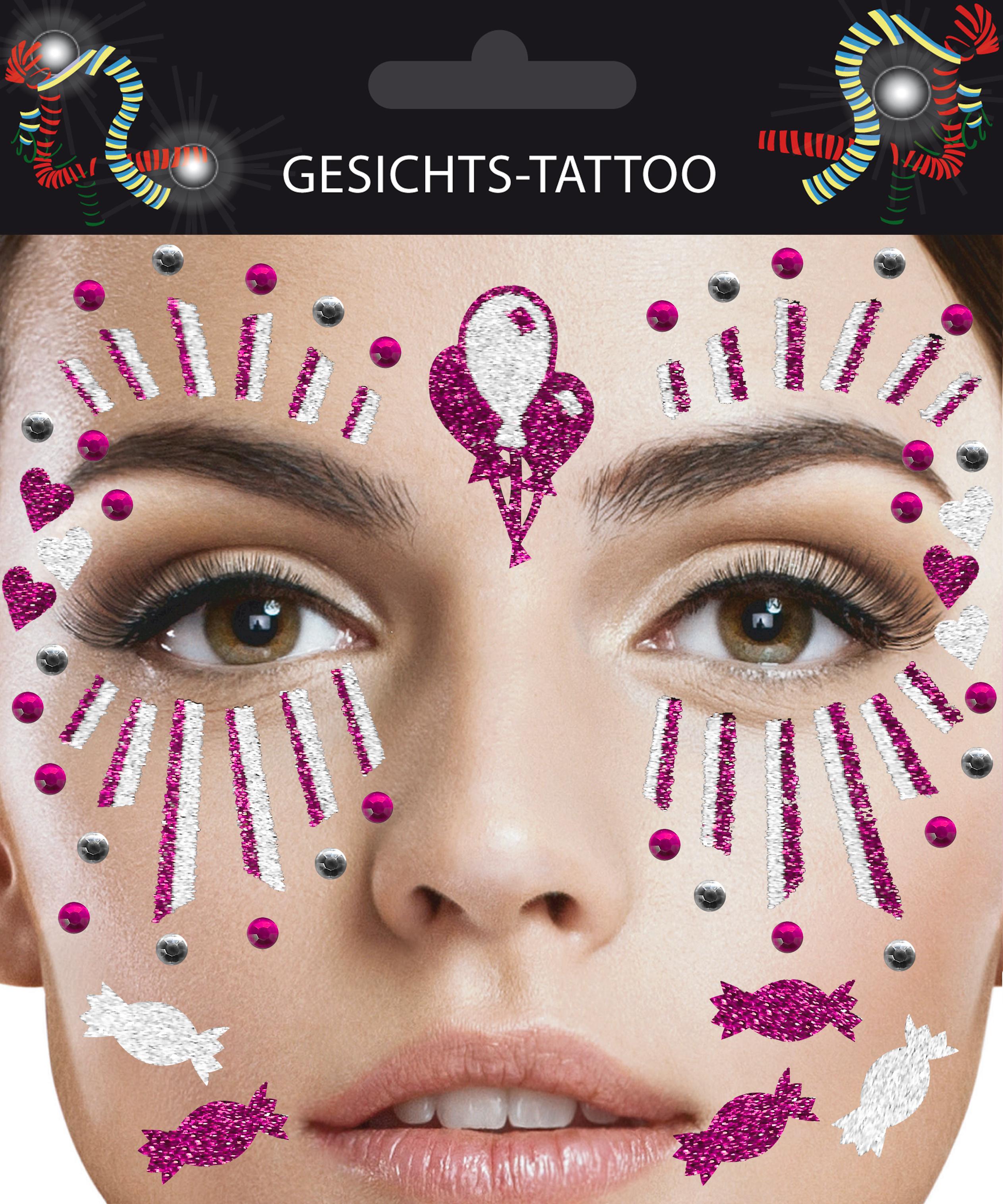 Gesichts-Tattoo Clown pink weiß
