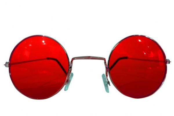 Runde Hippie Brille rot