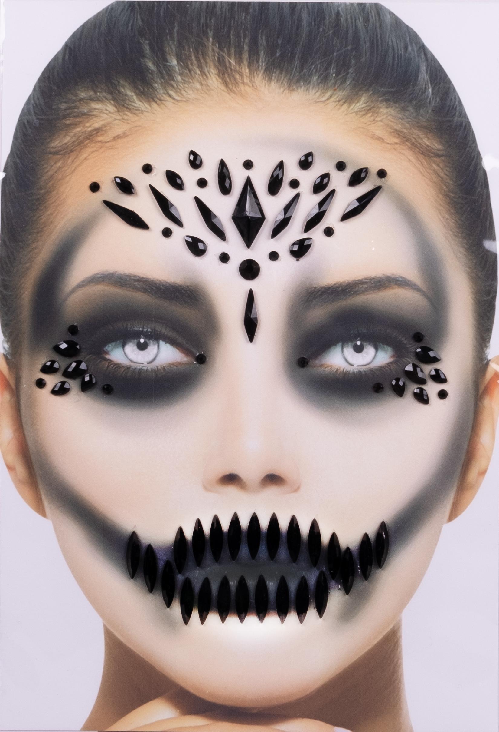 Gesichts-Tattoo Halloween schwarz