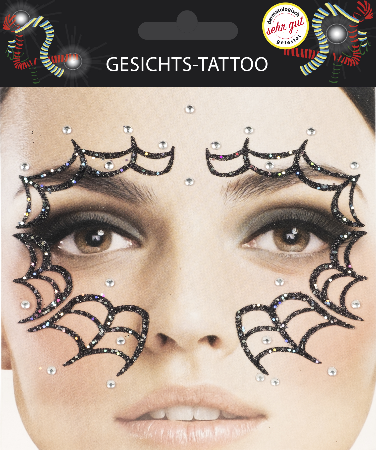 Gesichts-Tattoo Halloween Spinnennetz