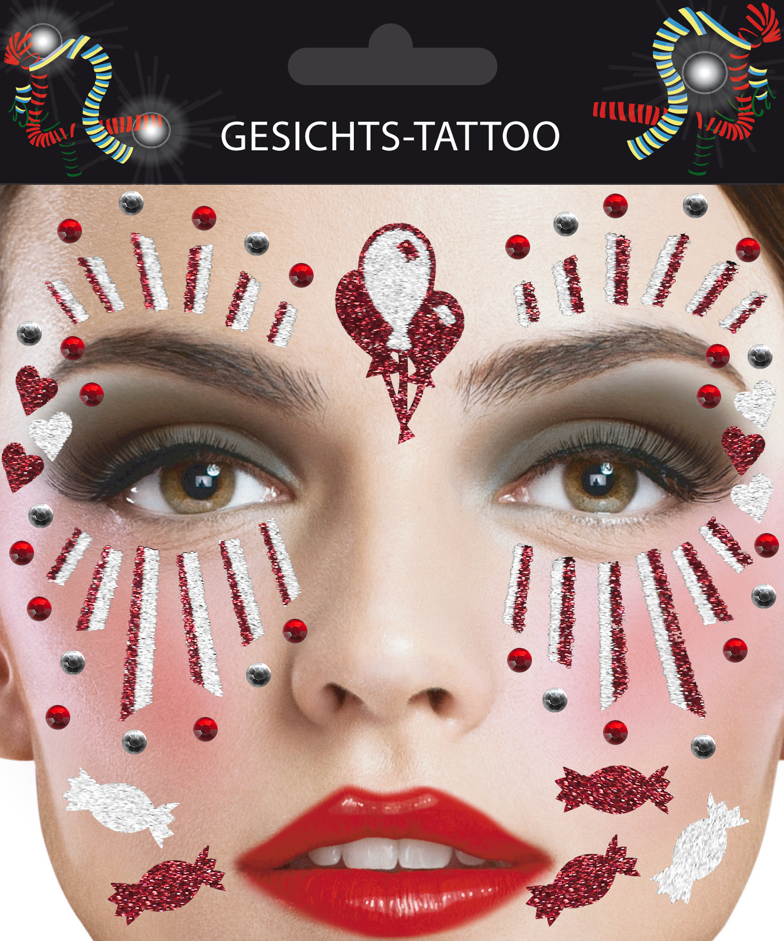 Gesichts-Tattoo Clown rot weiß