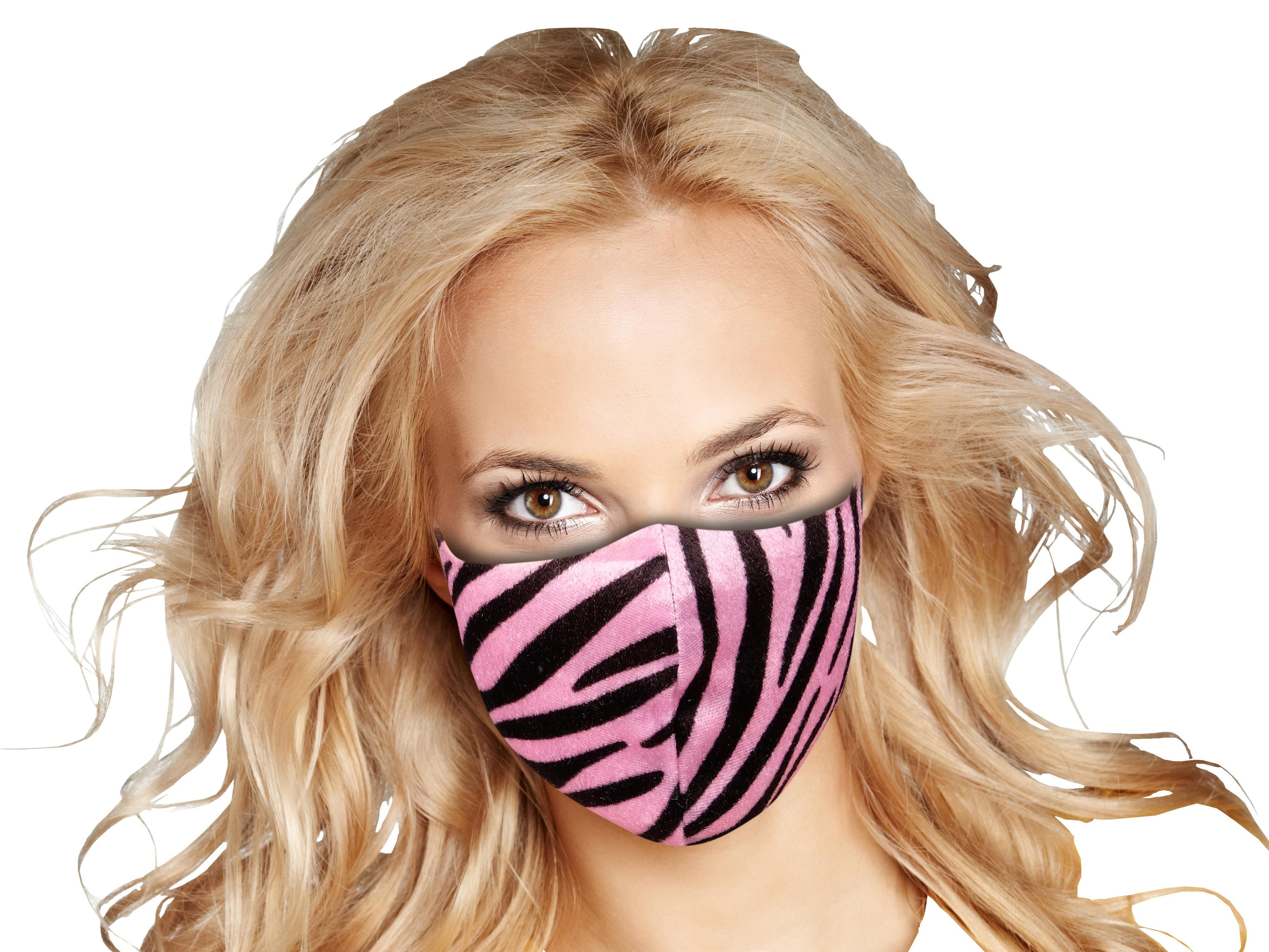 Stoffmaske mit Zebra pink-Muster
