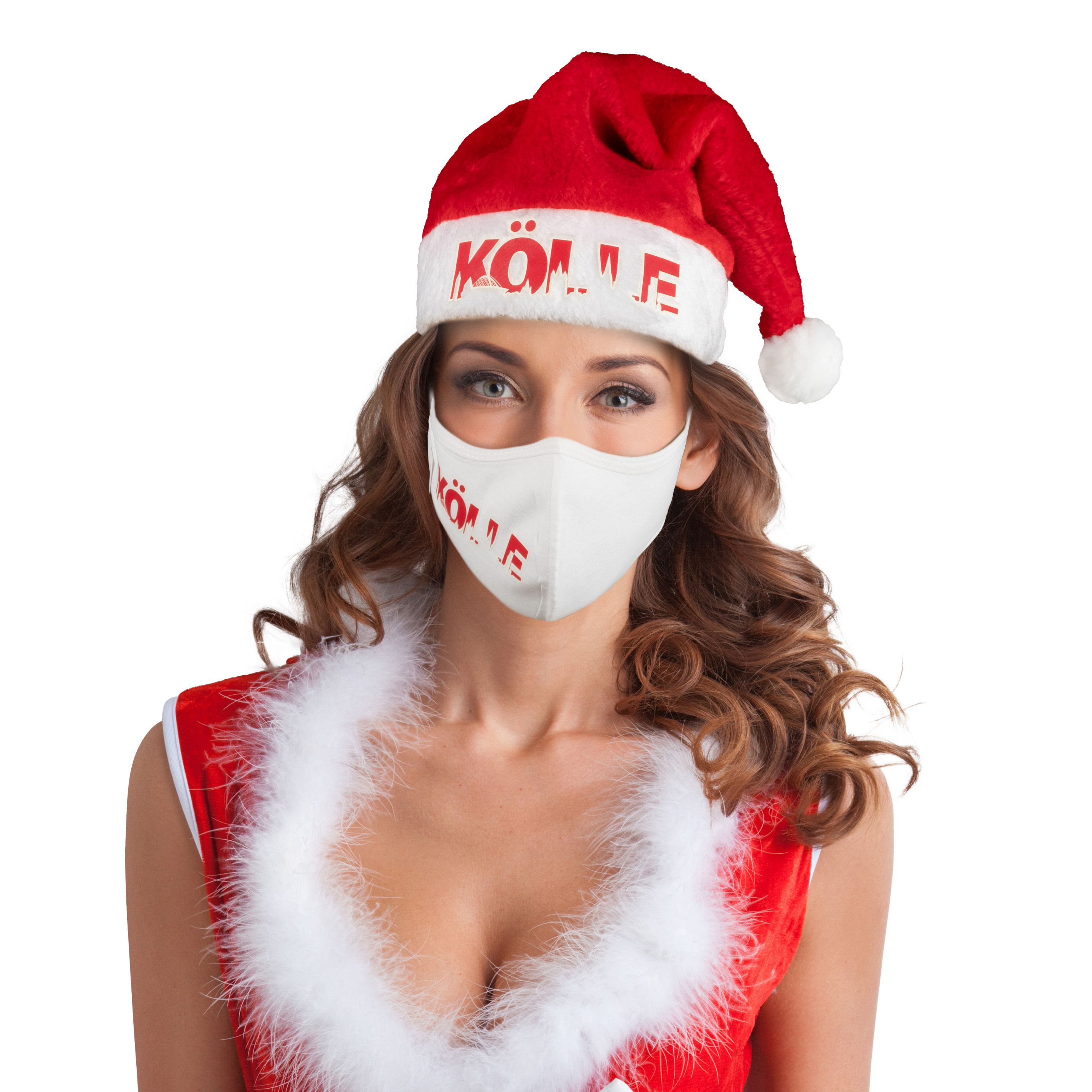 Weihnachts-Set Maske + Mütze Kölle Skyline