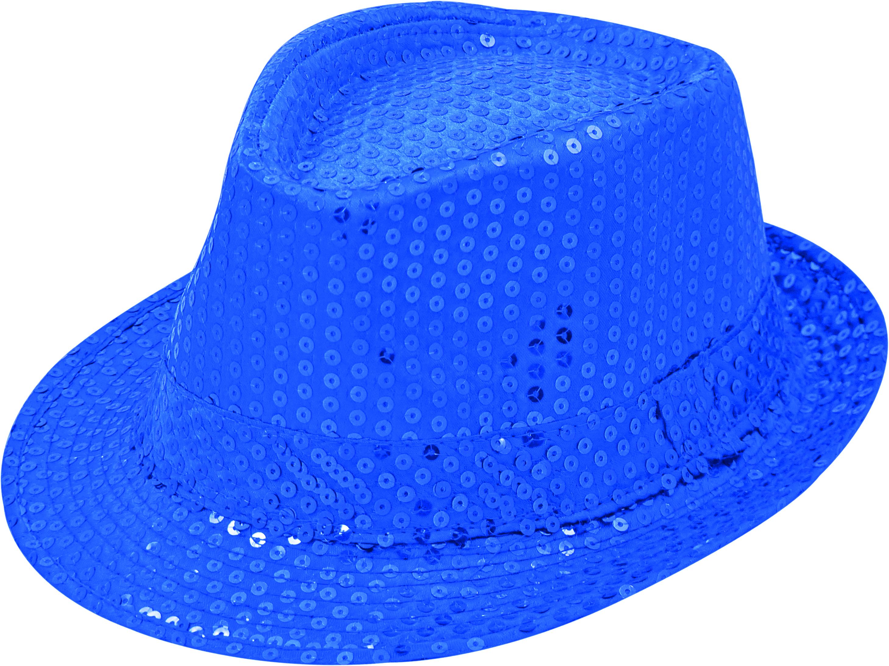 Pailletten-Hut blau