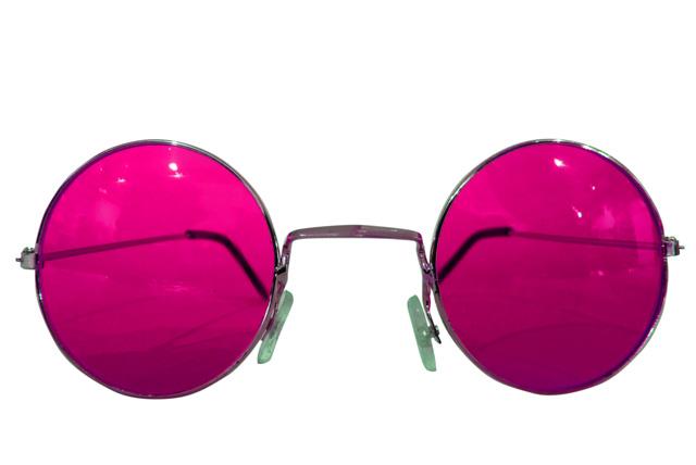 Runde Hippie Brille pink
