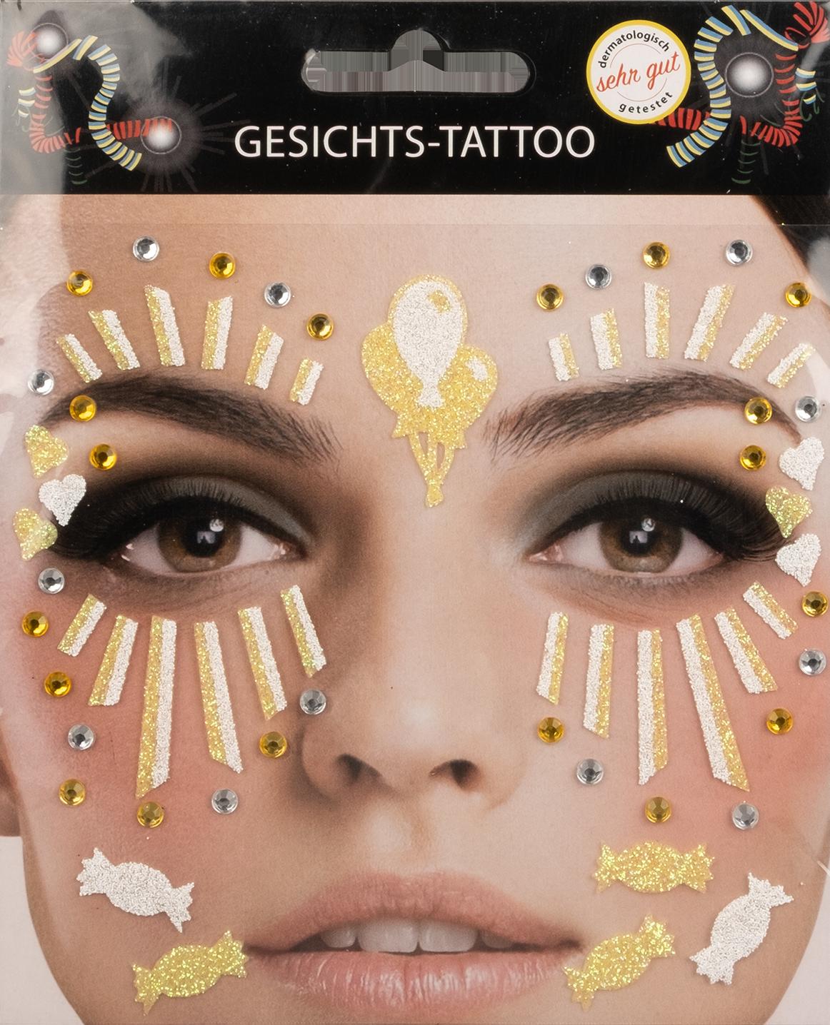 Gesichts-Tattoo Clown gelb weiß