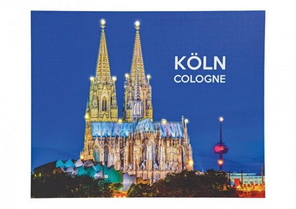 Wandbild Kölner Dom mit 14 LED Lichtern