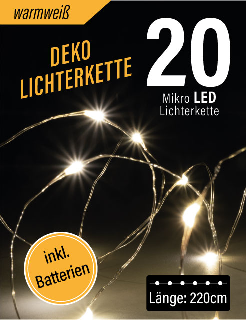LED Mikro Lichterkette 20er (warmweiß)