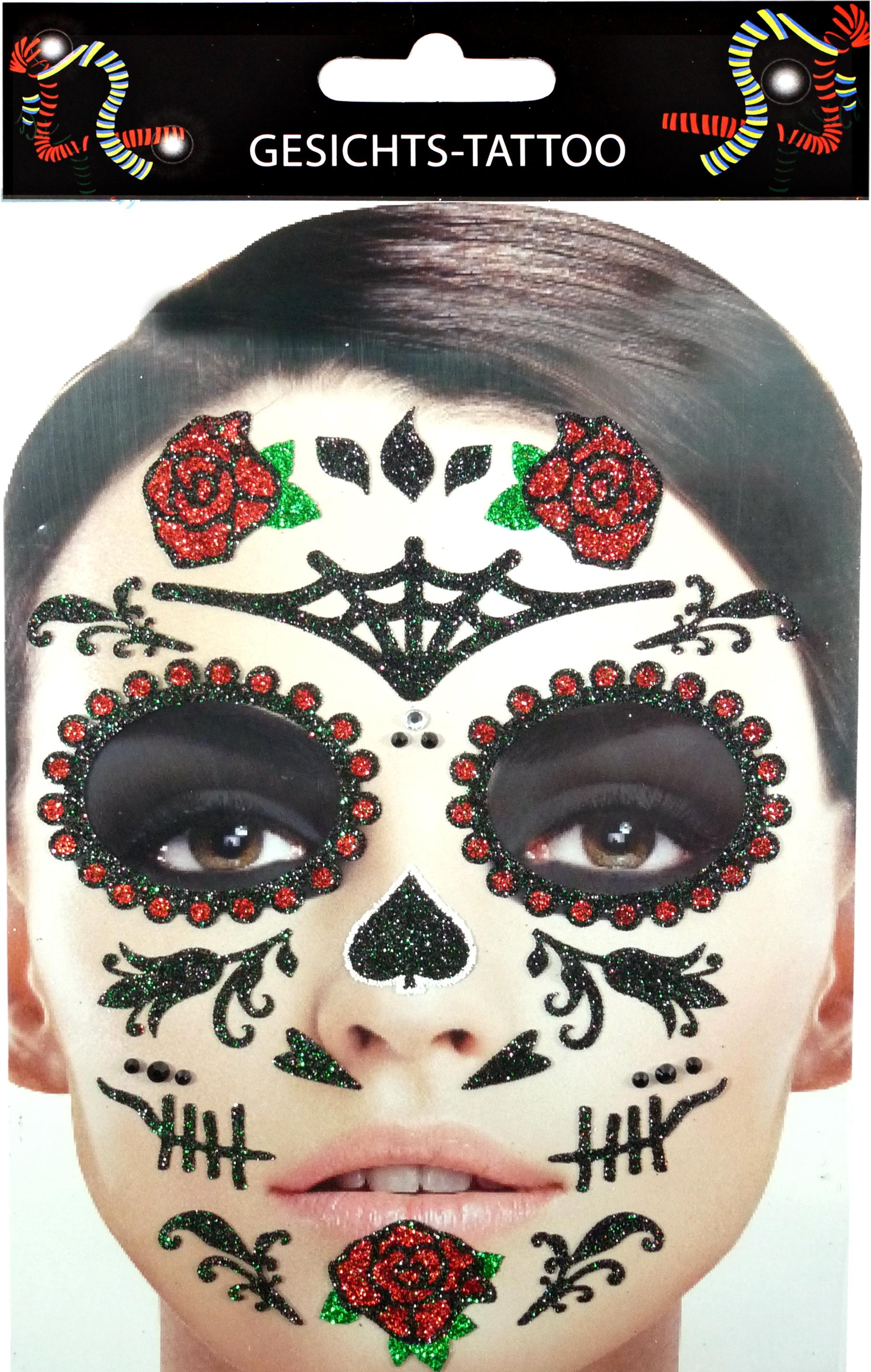 Gesichts-Tattoo Day of the Dead Rosen