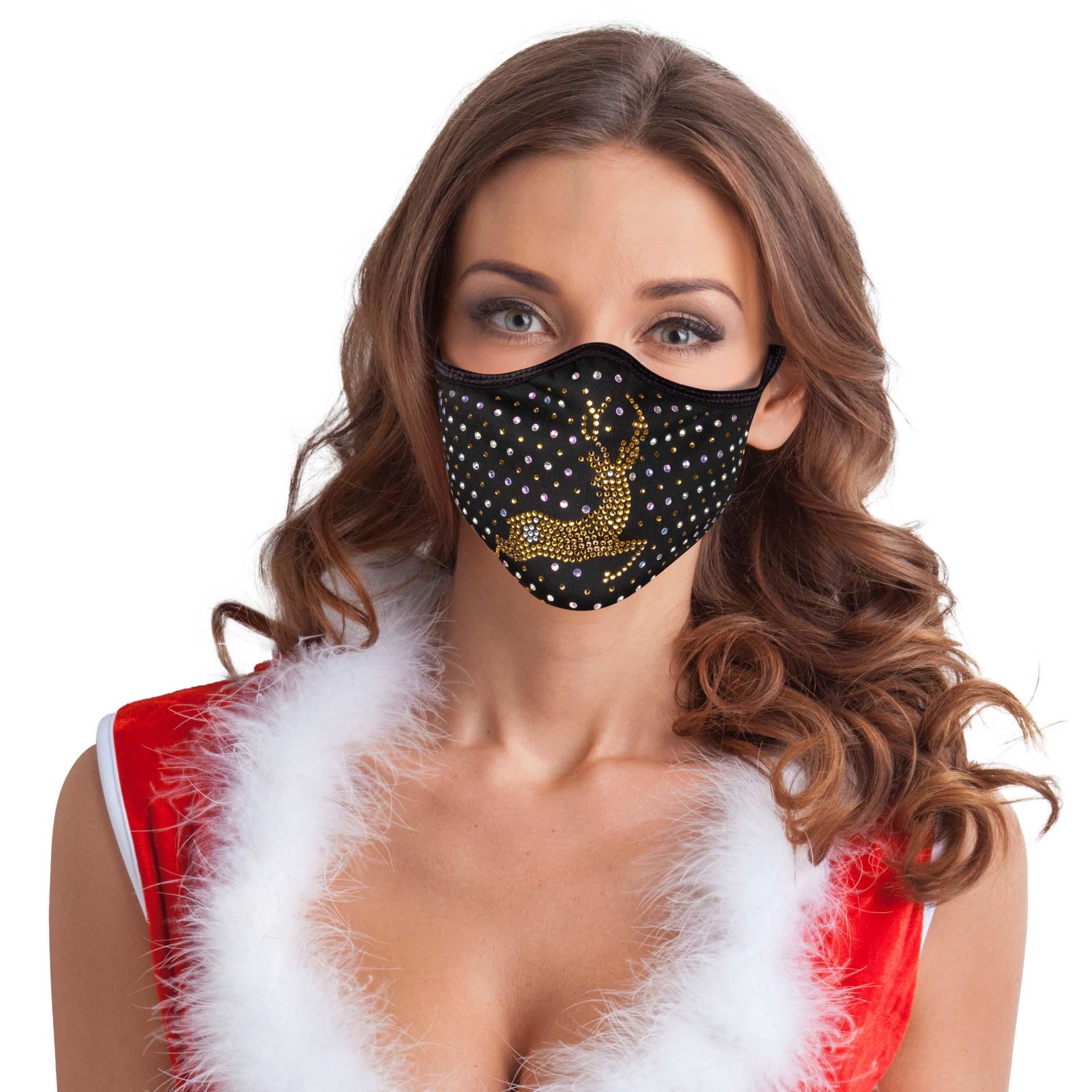 Festtagsmaske Strass Rentier gold