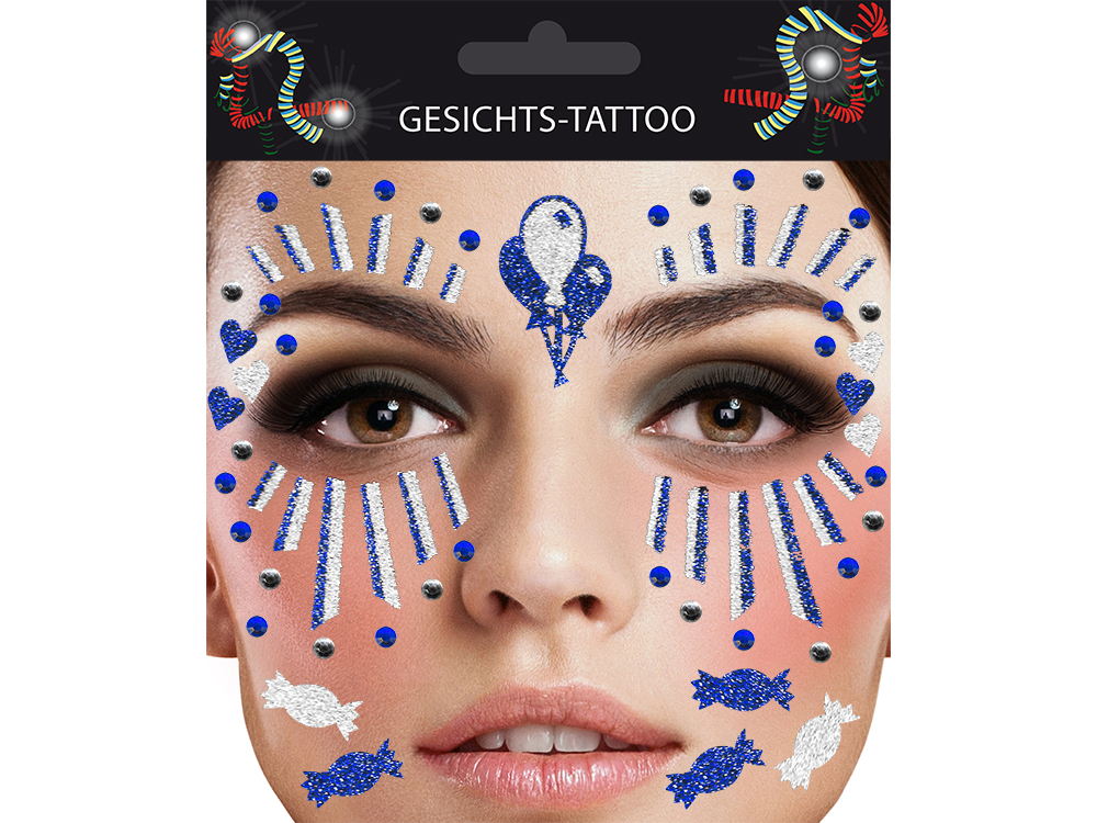 Gesichts-Tattoo Clown blau weiß
