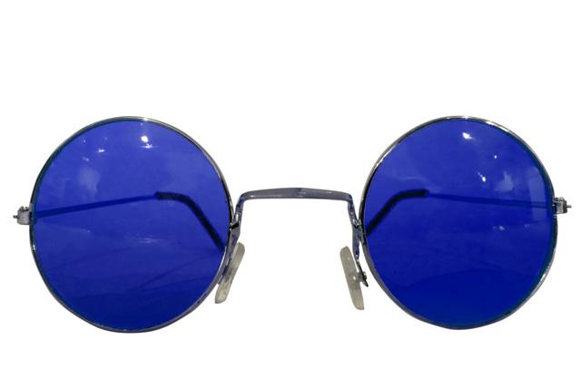 Runde Hippie Brille blau