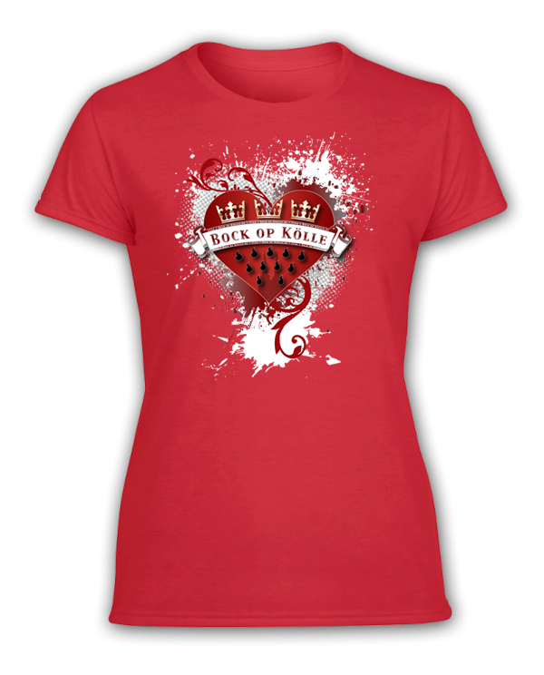 Damen T-Shirt Bock op Kölle Herz