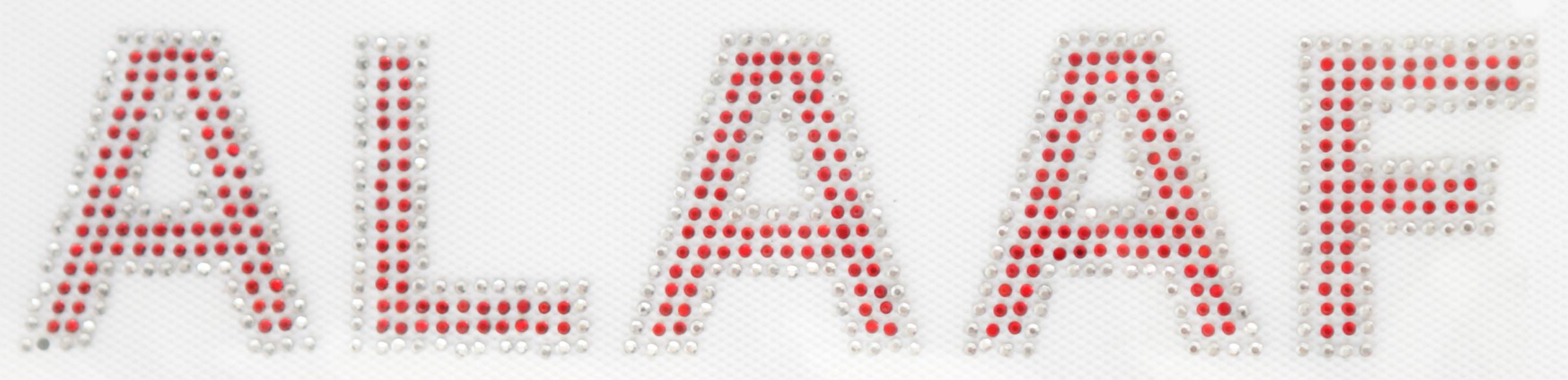Strass Bügelbild ALAAF 20,5cm silber/rot