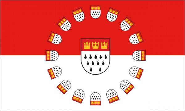 Fahne Köln mit vielen Wappen