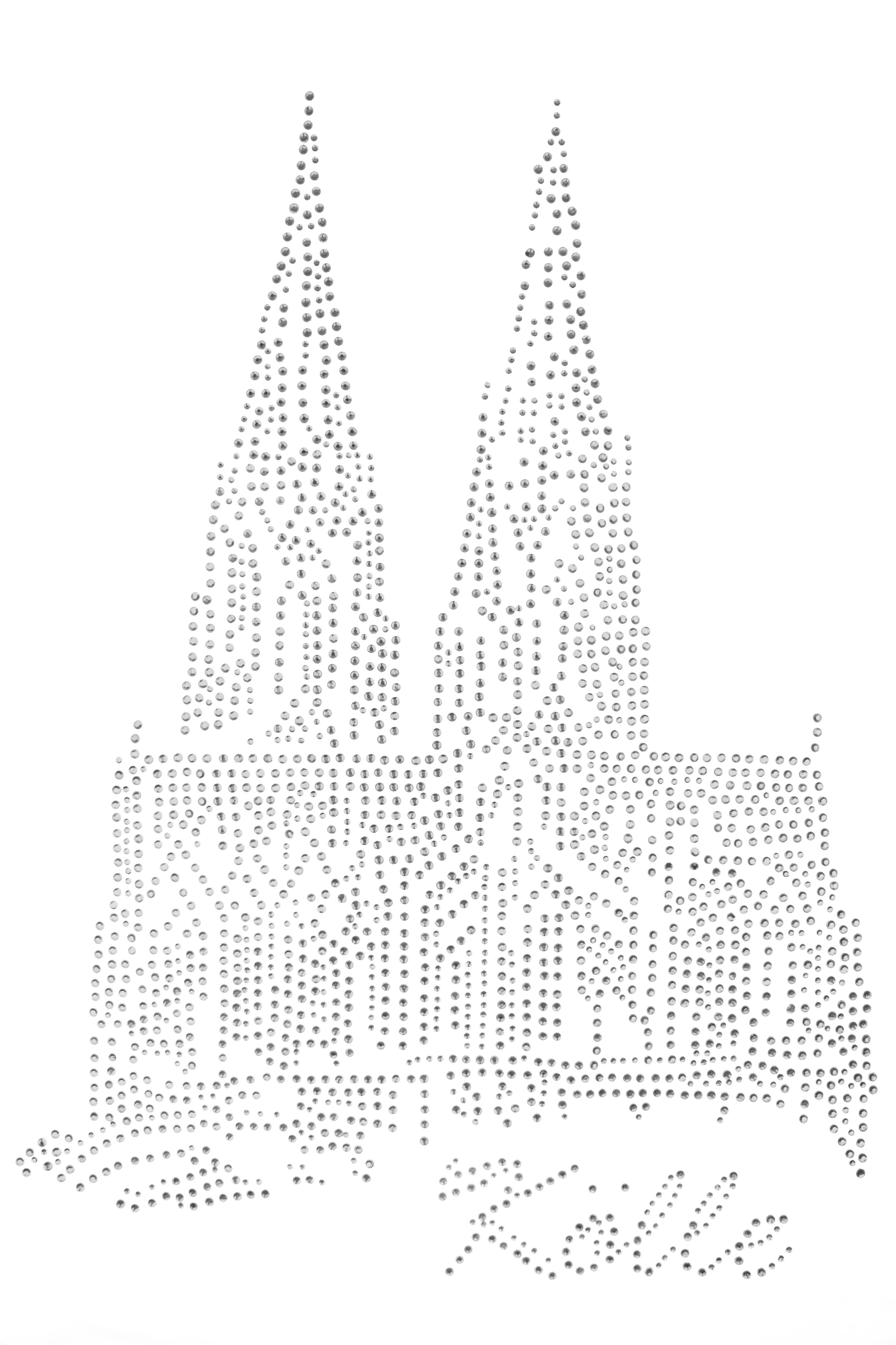 Strass Bügelbild Dom Kölle 15cm