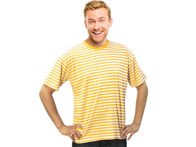 Ringelshirt kurzarm mit Stretch gelb-weiß Gr. 2XL