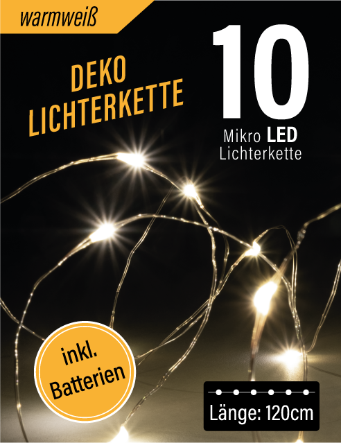 LED Mikro Lichterkette 10er (warmweiß)