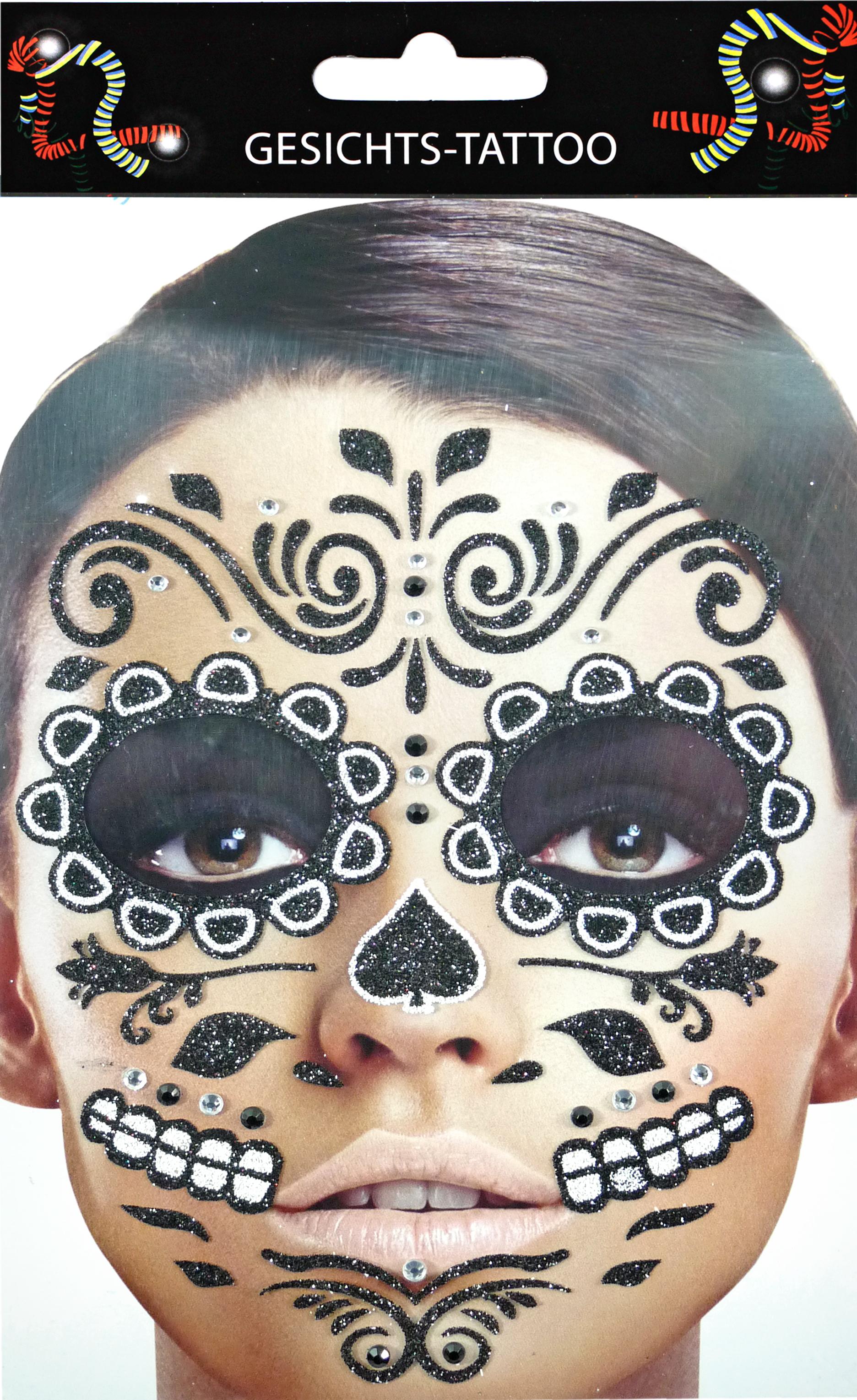 Gesichts-Tattoo Day of the Dead schwarz weiß