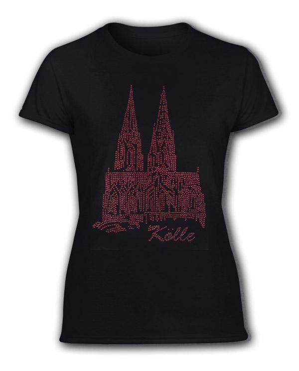 Damen T-Shirt Strass Dom