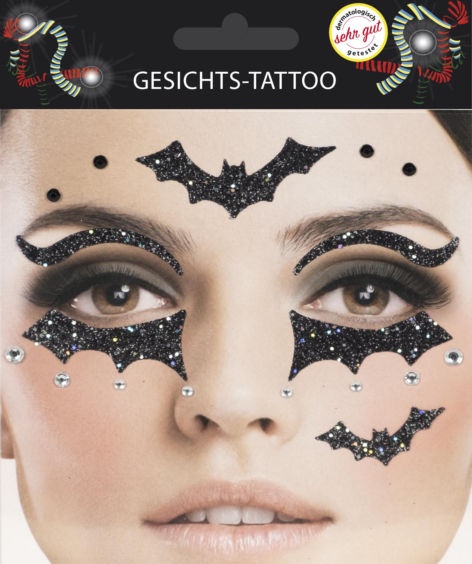 Gesichts-Tattoo Halloween Fledermaus