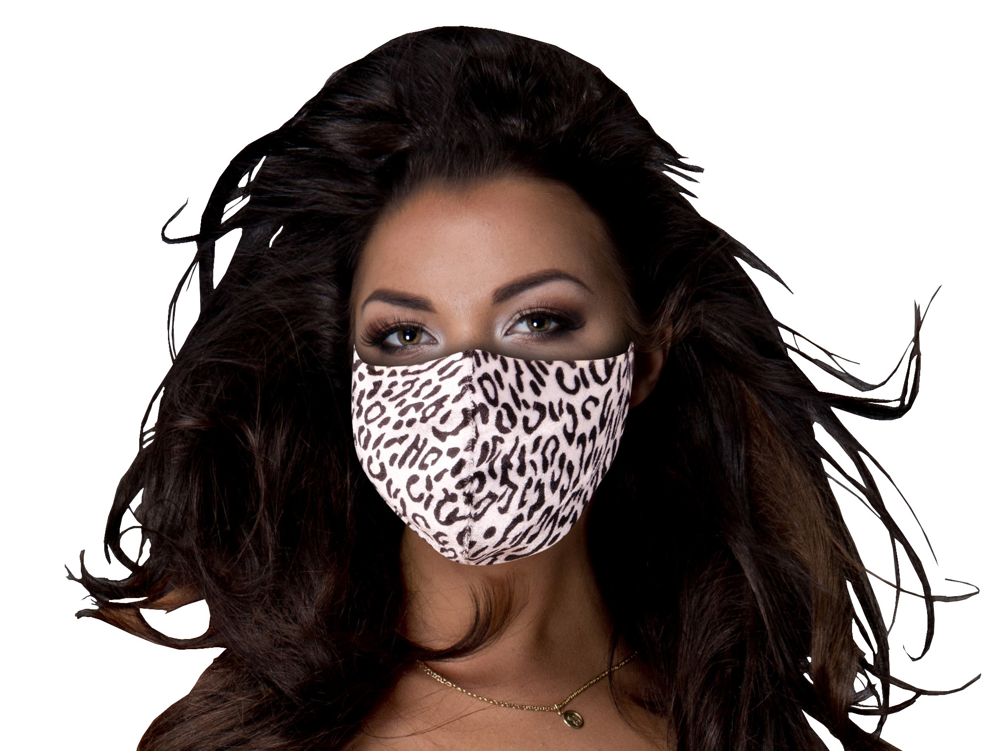 Stoffmaske mit Schneeleoparden-Muster