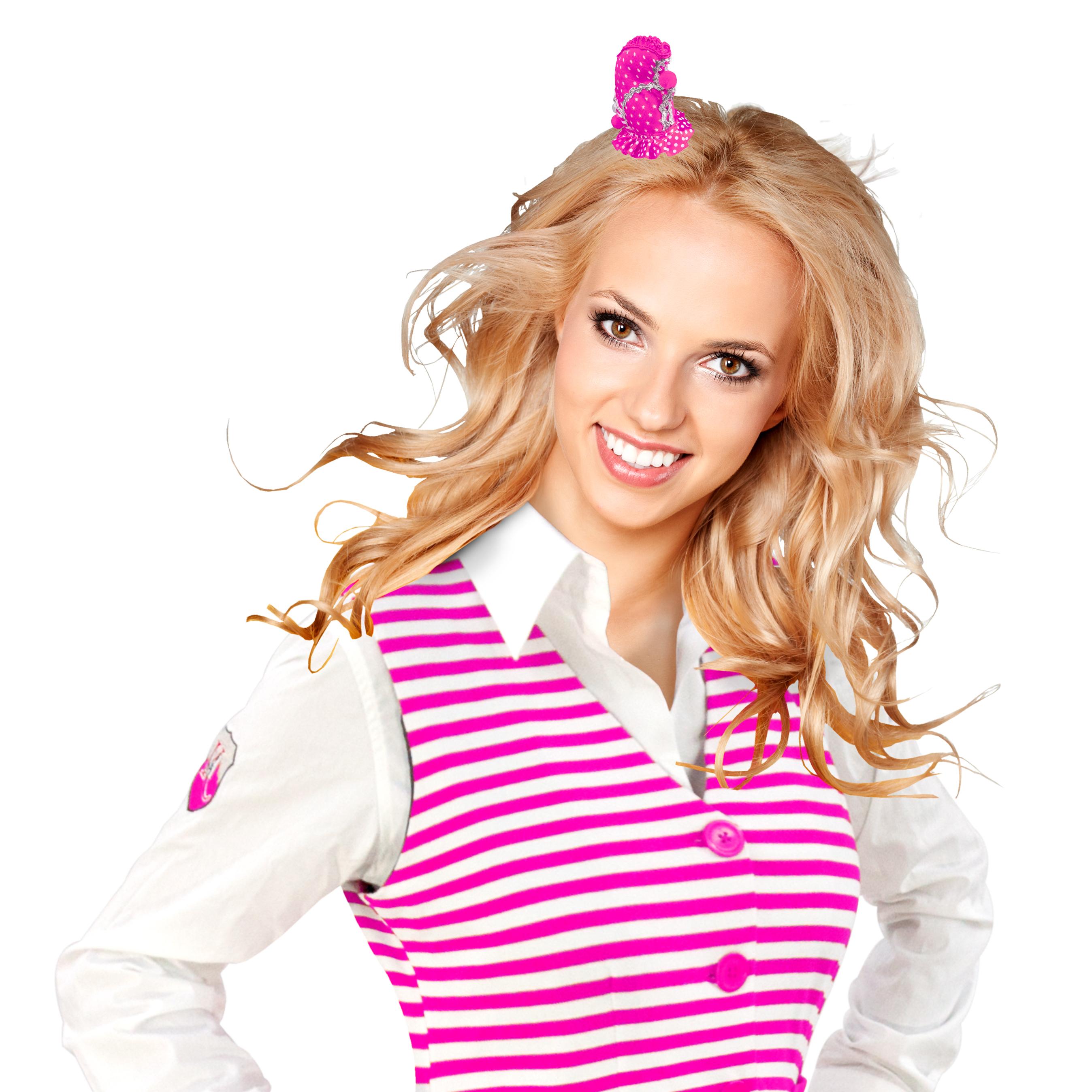 Haarclip Schiffchen Dom pink-weiß