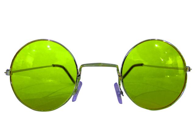Runde Hippie Brille neongrün